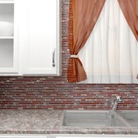 SomerTile 11.75x11.875-inch Reflections Piano Bordeaux Glass and Stone Mosaic Wall Tile (10 tiles/9.7 sqft.)
