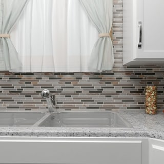 SomerTile 11.625 x 11.75-inch Reflections Piano Stonehenge Stone and Glass Mosaic Wall Tile (Pack of