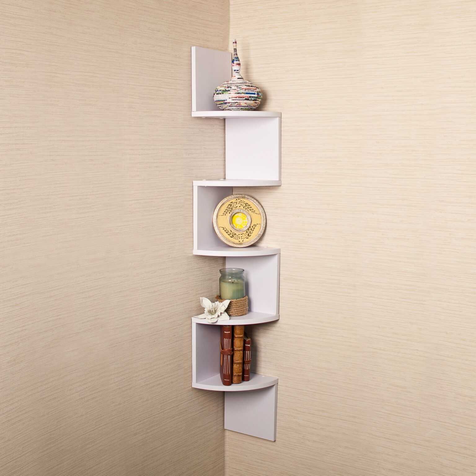 White Floating Wall Shelves Corner Shelf Storage Display Bookcase 2 5 Tier High
