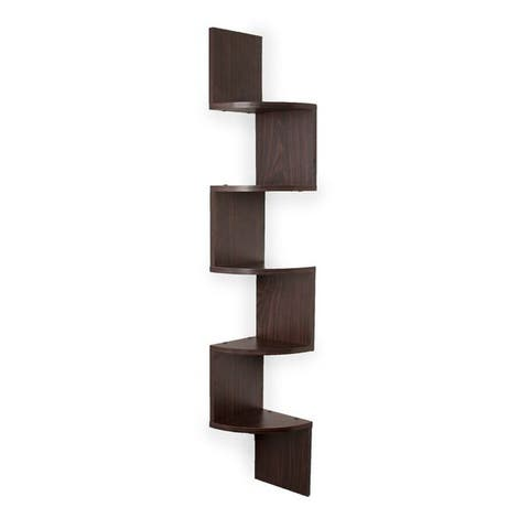 Danya B. Large Decorative 5-Tier Corner Floating Wall Mount Display Shelving Unit