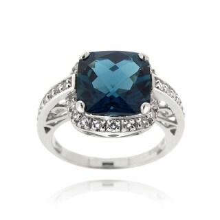 Glitzy Rocks Silver 7 1/6ct TGW London Blue and White Topaz Square Ring