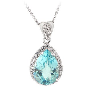 Link to Glitzy Rocks Sterling Silver Blue Topaz and Cubic Zirconia Necklace Similar Items in Necklaces