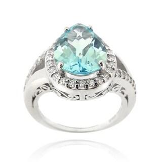 Glitzy Rocks Sterling Silver Pear-cut Blue Topaz and Cubic Zirconia Ring