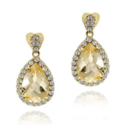 Glitzy Rocks 18k Gold over Silver Citrine and Cubic Zirconia Earrings