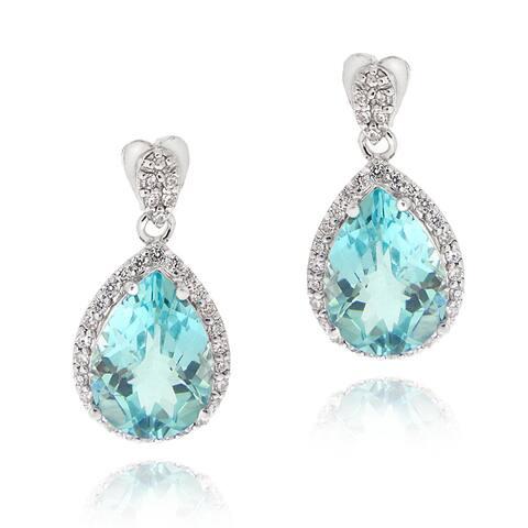 Glitzy Rocks Sterling Silver Blue Topaz and Cubic Zirconia Earrings