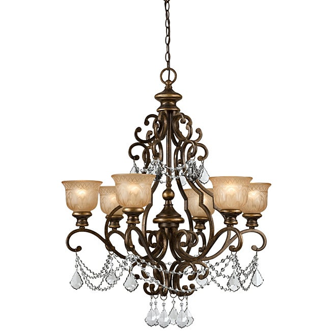 Crystorama Traditional Bronze Umber 6-light Chandelier