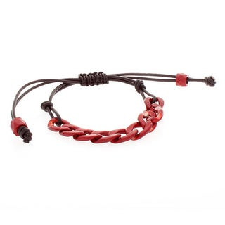 NEXTE Jewelry Red Cuban Chain Brown Leather Bracelet