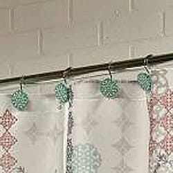 Sienna Fabric Shower Curtain with Hooks