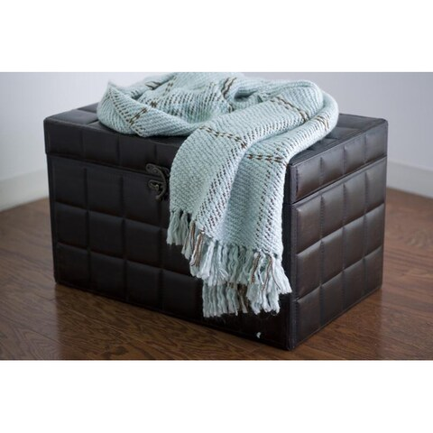 Rizzy Home Blue/ Brown Tight Weave Acrylic Throw