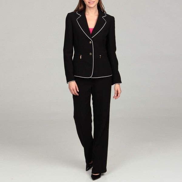 Tahari Women's Black/ White Piped Two-button Pant Suit