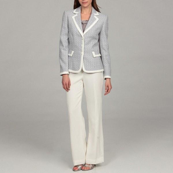 Tahari Women's Tweed-framed Pant Suit