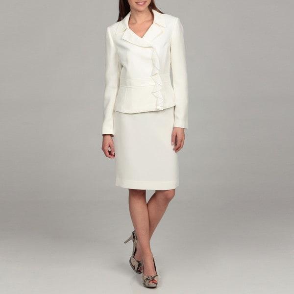 Tahari Women's Ivory Ruffle Front Skirt Suit