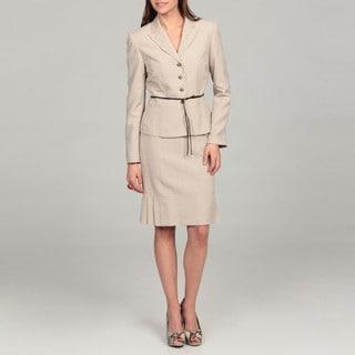 Tahari Women's Tan/ White Belted Skirt Suit