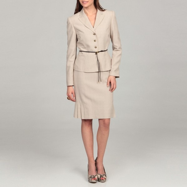 Tahari Women's Tan/ White Belted Skirt Suit