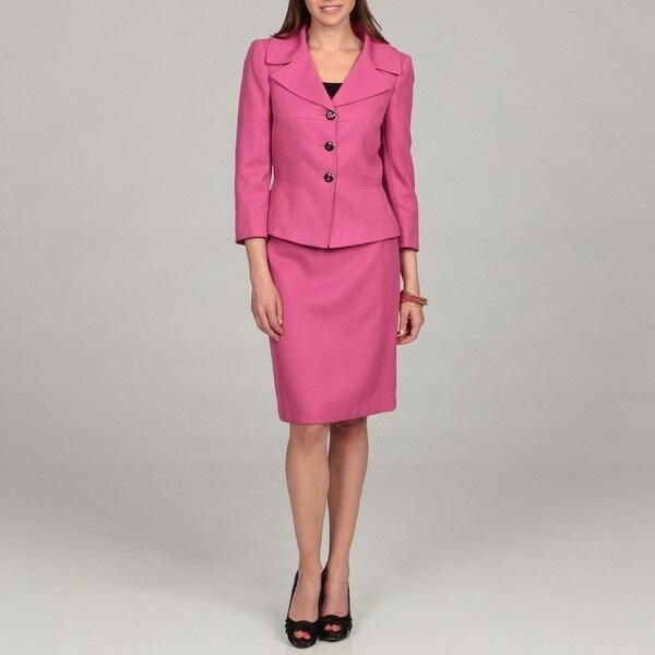Tahari Women's Fuchsia Three-button Skirt Suit