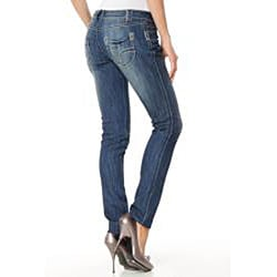 MDZ Morgan Embroidered Five-pocket Front-distressed Skinny Jeans - Thumbnail 1