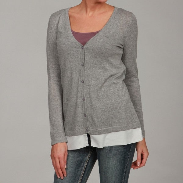 Cupio Women's Heather Grey Button Down Cardigan - Free Shipping On ...