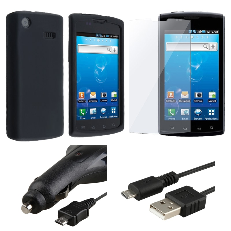 INSTEN 4-piece Charger/ Case Cover Accessory Bundle for Samsung Captivate Galaxy S