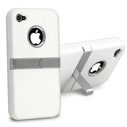 INSTEN White Snap-on Case Cover with Chrome Stand for Apple iPhone 4