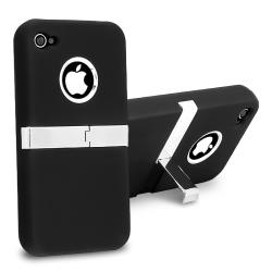 INSTEN Black Snap-on Phone Case Cover with Chrome Stand for Apple iPhone 4 - Thumbnail 1