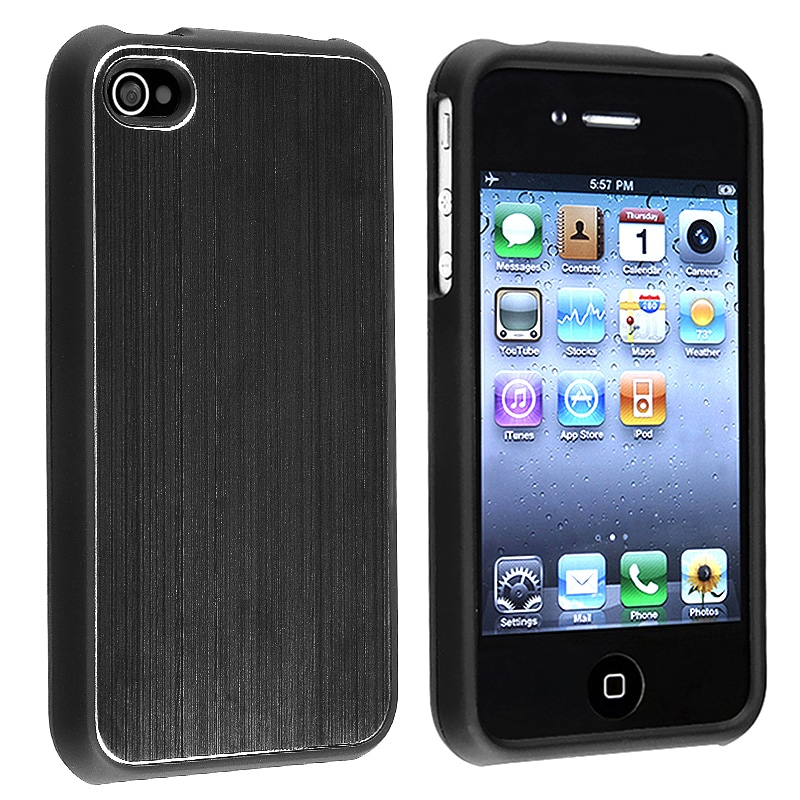 INSTEN Black Brushed Aluminum Snap-on Phone Case Cover for Apple iPhone 4 AT&T/ Verizon - Thumbnail 0