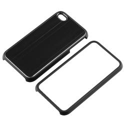 INSTEN Black Brushed Aluminum Snap-on Phone Case Cover for Apple iPhone 4 AT&T/ Verizon - Thumbnail 1