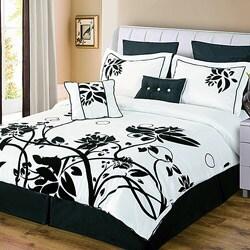 Chelsea black white 8 piece comforter set free shipping - Black white bedding sets ...