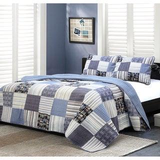 Cozy Line Daniel Plaid Denim Patchwork 3-piece Quilt Set