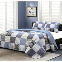 Carbon Loft Bell Plaid Denim Patchwork 3-piece Quilt