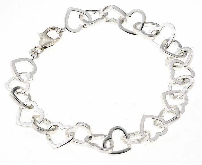 Journee Collection  Sterling Silver Heart Link Bracelet
