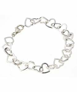 Journee Collection Sterling Silver Heart Link Bracelet