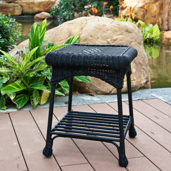 outdoor wicker patio end table free shipping today 13926998. Black Bedroom Furniture Sets. Home Design Ideas