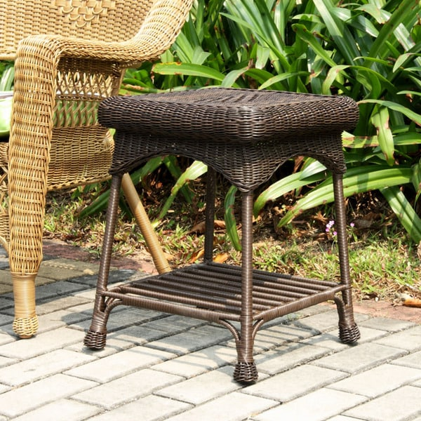 Outdoor Wicker Patio End Table   Free Shipping Today   Overstock.com    13926998