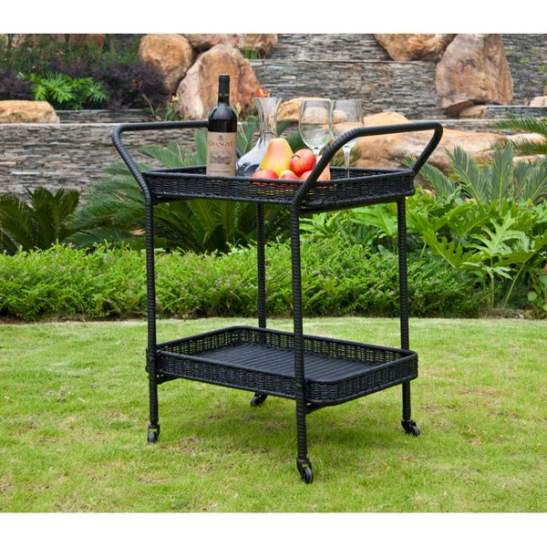 Wicker Patio Serving Cart   Free Shipping Today   Overstock.com   13927022