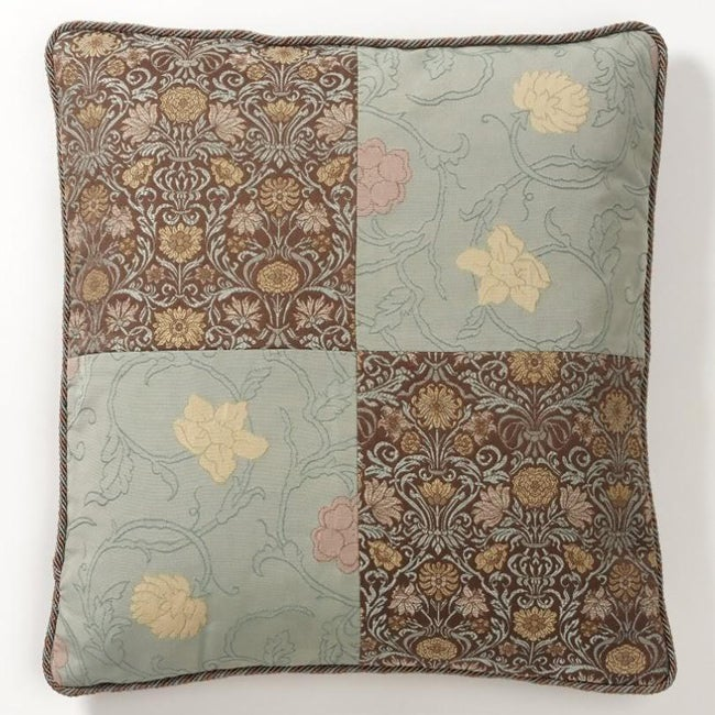 Corona Decor European Woven Floating Vintage Flowers Jaquard Throw Pillow