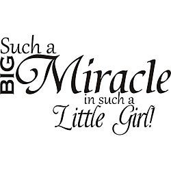 Design on Style 'Such a Big Miracle in Such a Little Girl' Vinyl Art Quote