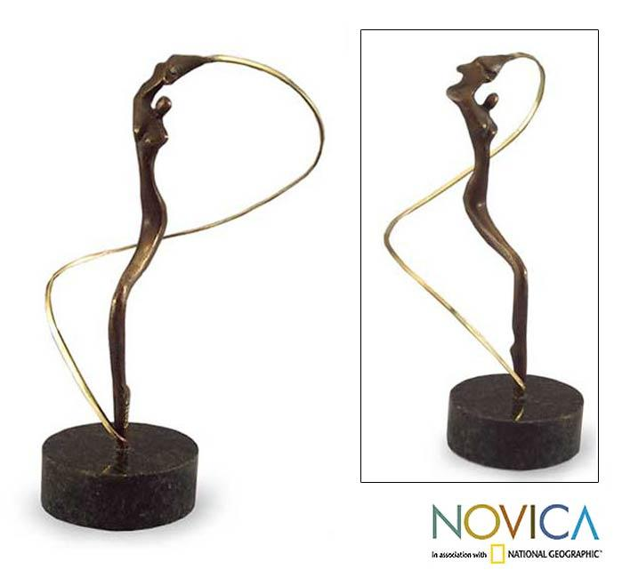 Handmade Bronze 'Angel' Sculpture (Brazil)