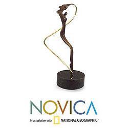Handmade Bronze 'Angel' Sculpture (Brazil) - Thumbnail 1