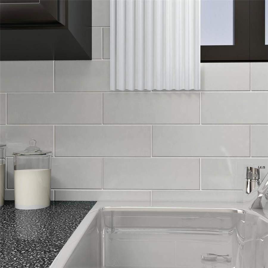 Somertile 4x12 Inch Reflections Grand Subway Ice White Gl Wall Tile 30 Tiles 10 Sqft