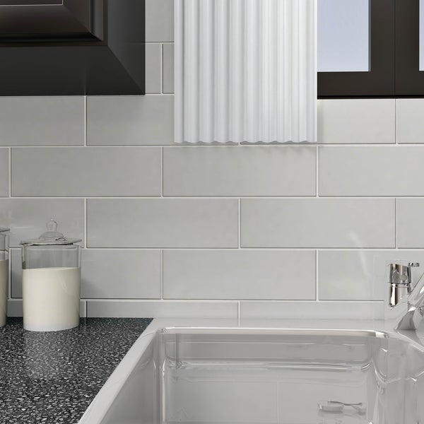 SomerTile 4x12 Inch Reflections Grand Subway Ice White