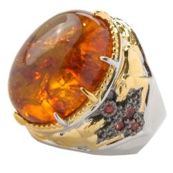 Michael Valitutti Two-tone Baltic Amber and Orange Sapphire Ring - Thumbnail 1