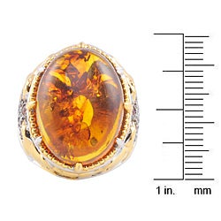 Michael Valitutti Two-tone Baltic Amber and Orange Sapphire Ring - Thumbnail 2