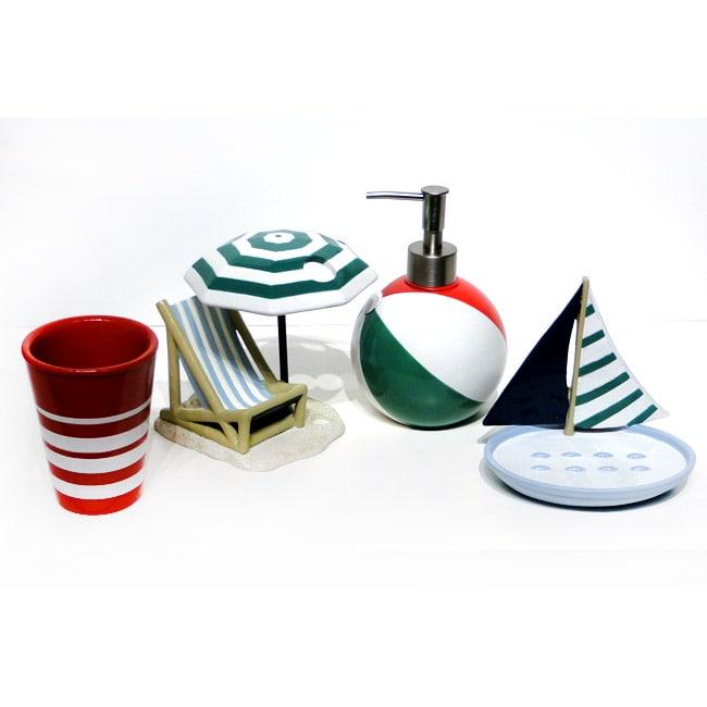 Ocean beach bath accessory 4 piece set free shipping for Bathroom 4 piece set