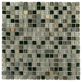 SomerTile 11.75 x 11.75-inch Reflections Mini Stonehenge Glass and Stone Mosaic Wall Tile (Case of 1