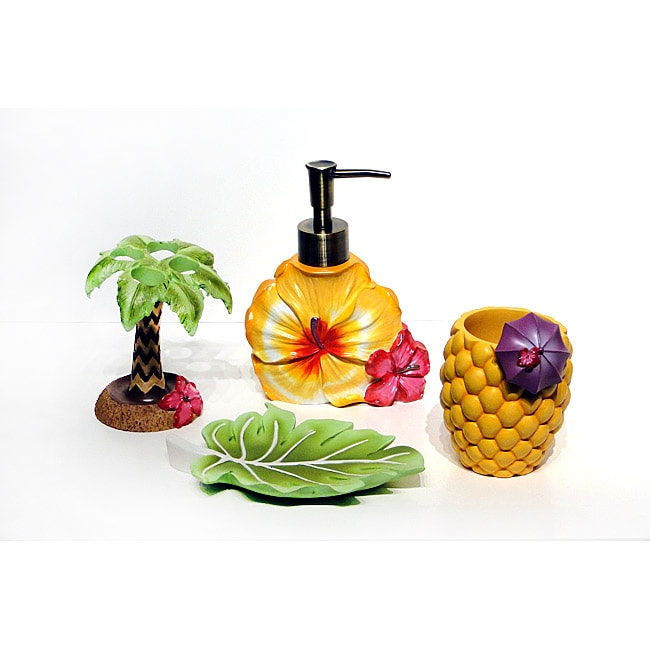 Kiki Tropical Bath Accessory 4-piece Set