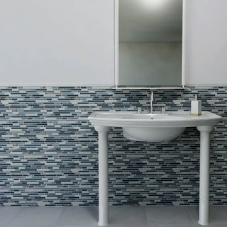 Link to SomerTile 11.75x11.875-inch Reflections Piano Gulf Glass and Stone Mosaic Wall Tile (10 tiles/9.7 sqft.) Similar Items in Tile