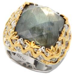 Michael Valitutti Two-tone Labradorite and White Sapphire Ring