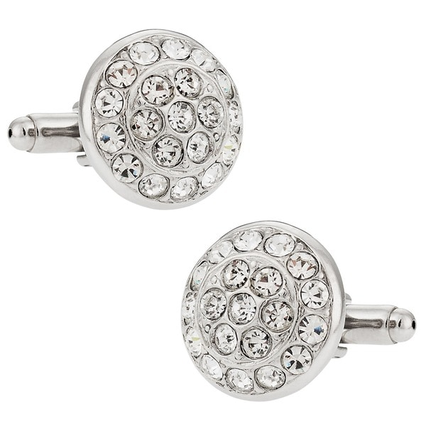 ca402d337b ... Men's Jewelry; /; Men's Cufflinks. Cuff Daddy Silvertone Clear Crystal  Round Cuff Links