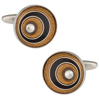 Cuff Daddy Silvertone Black and Gold Cuff Links