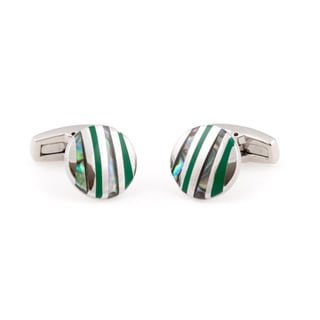 Cuff Daddy Silvertone Enamel and Abalone Cuff Links